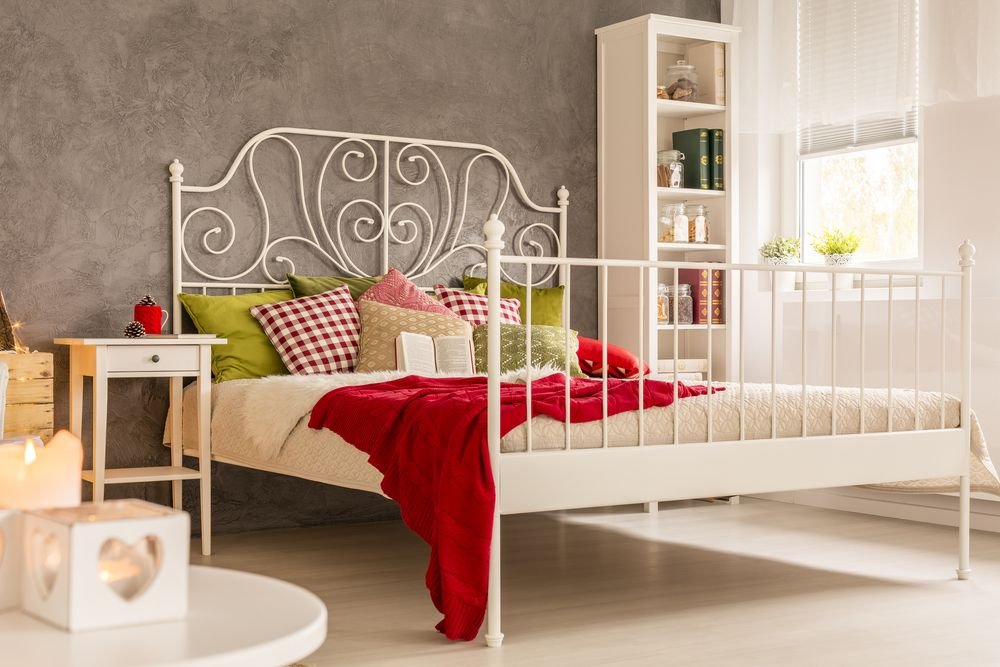 bed style-open frame bed-white bed
