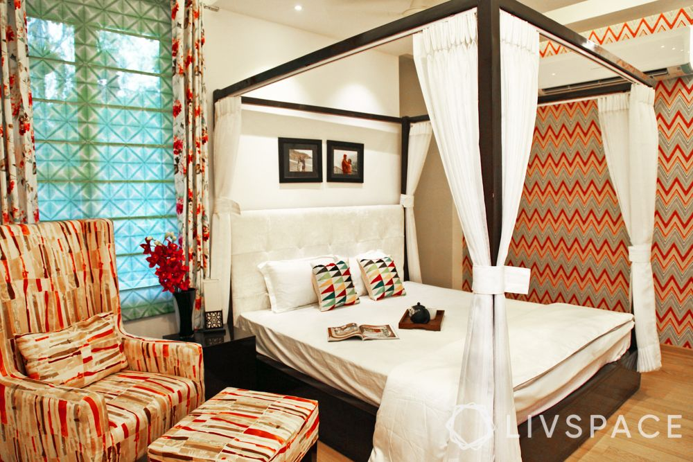 bed style-canopy bed-red wallpaper