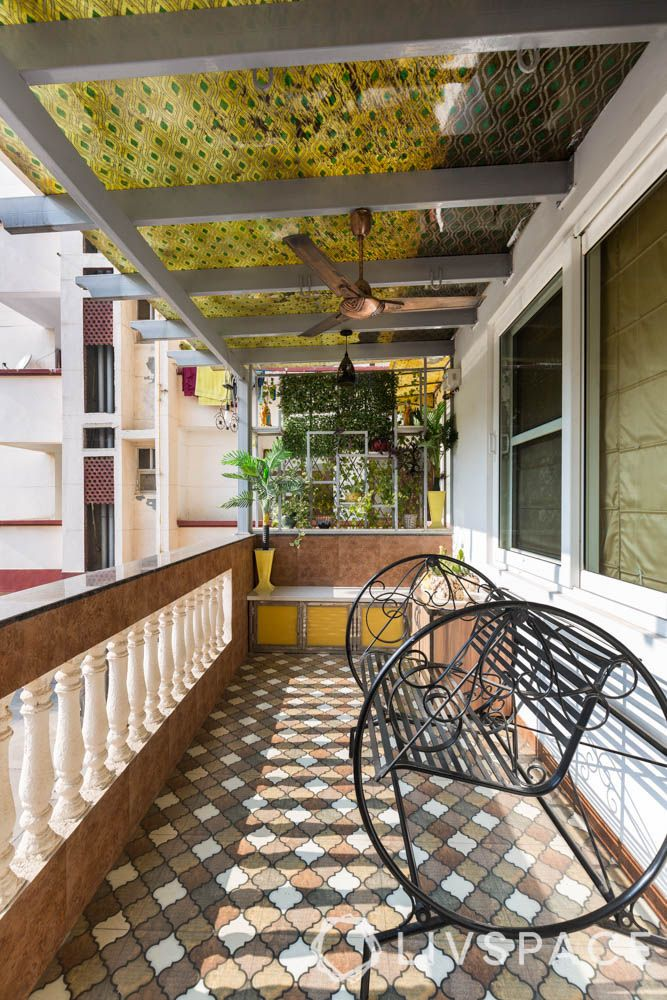 home balcony design-brown and white tiles-balcony tiles-seating