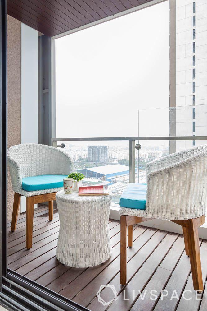 home balcony design-white furniture-deck ideas-coffee table