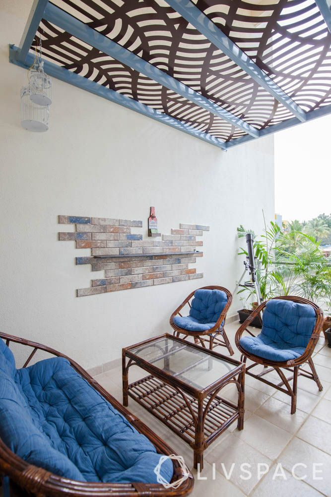 home balcony design-jaali roof-balcony furniture-wall art