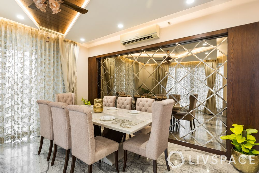dining room-mirror panel-wooden false ceiling