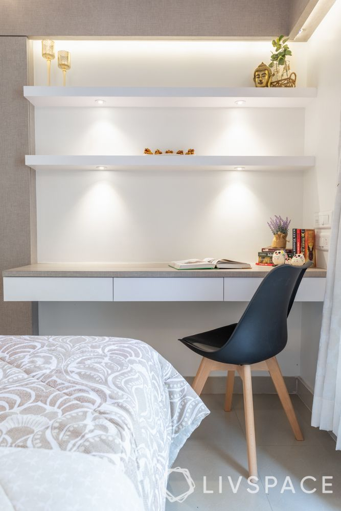 home office ideas-study unit-green chair-floating shelves-spot lights