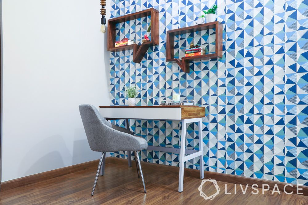 wall paint ideas-blue wall-patterned