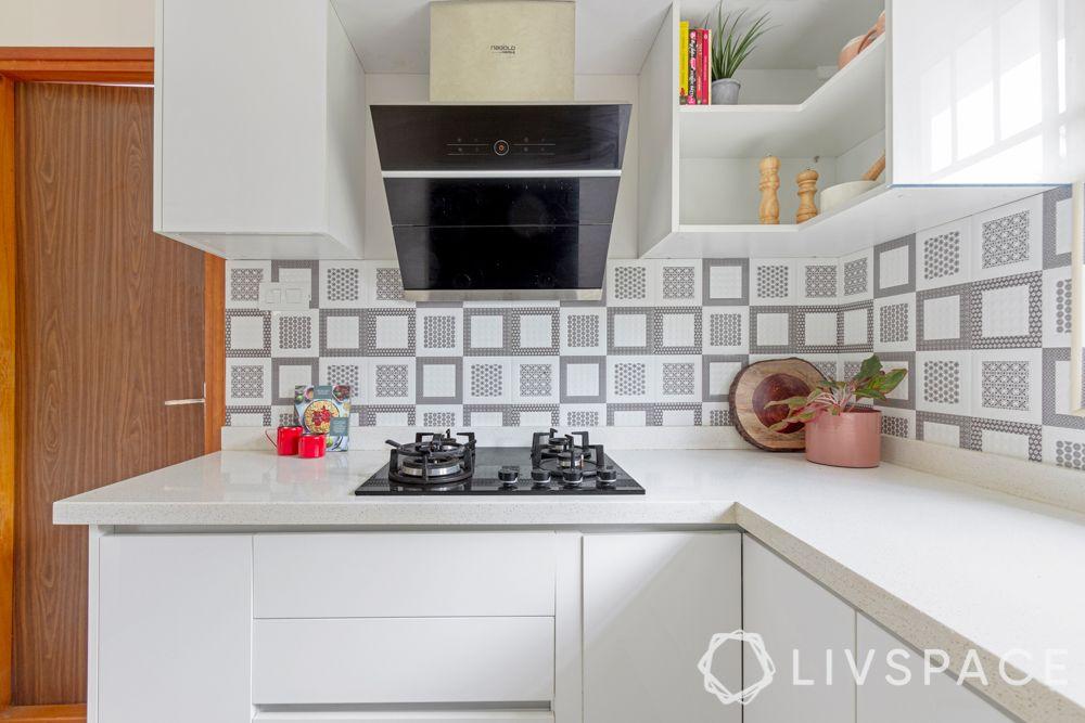 3 bhk in bangalore-white kitchen-acrylic finish-open shelves
