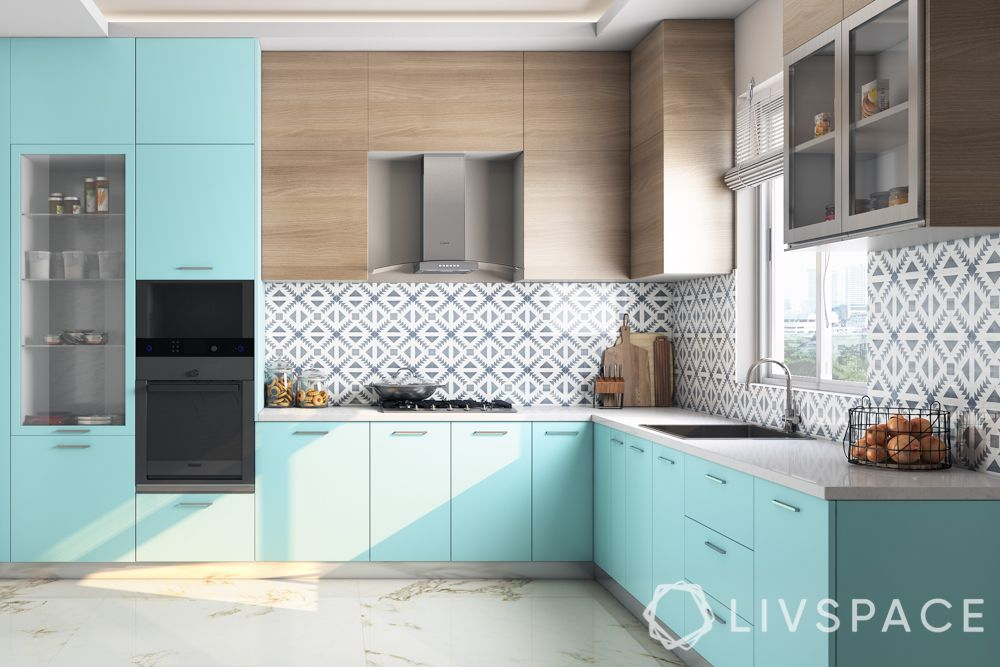 2020 kitchen design-sky blue kitchen-l-shaped kitchen
