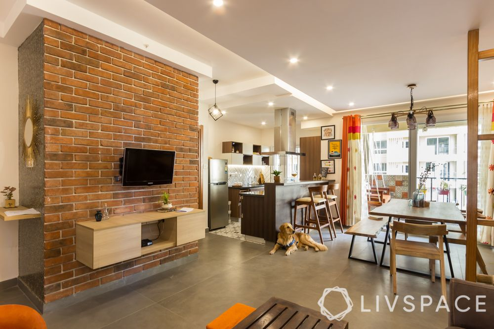 Wall design ideas-exposed brick wall-tv unit