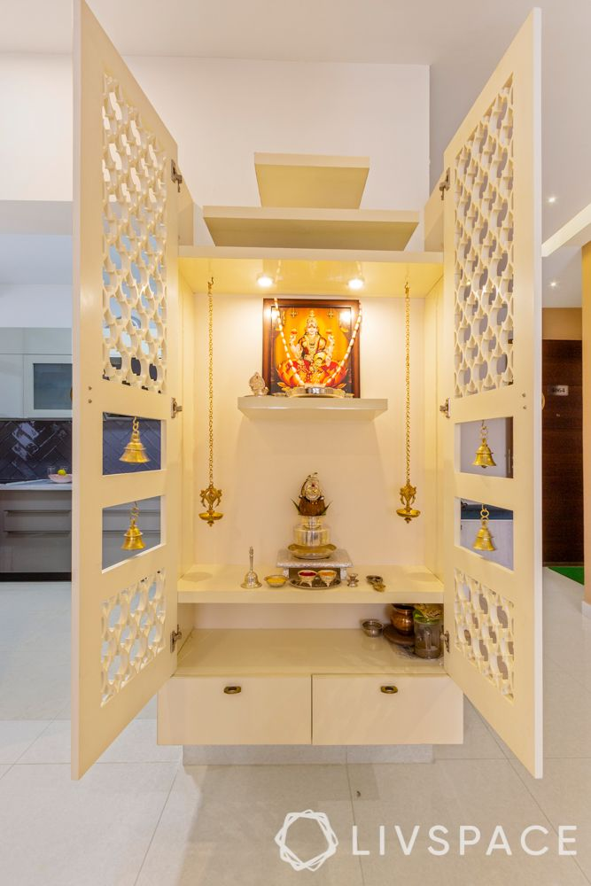 pooja rooms with jaali-white pooja rooms
