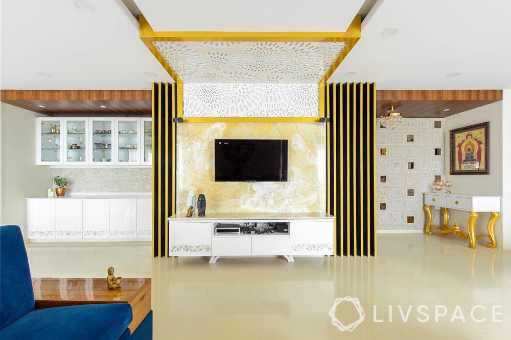 jaali designs-jaali on ceiling-tv unit designs