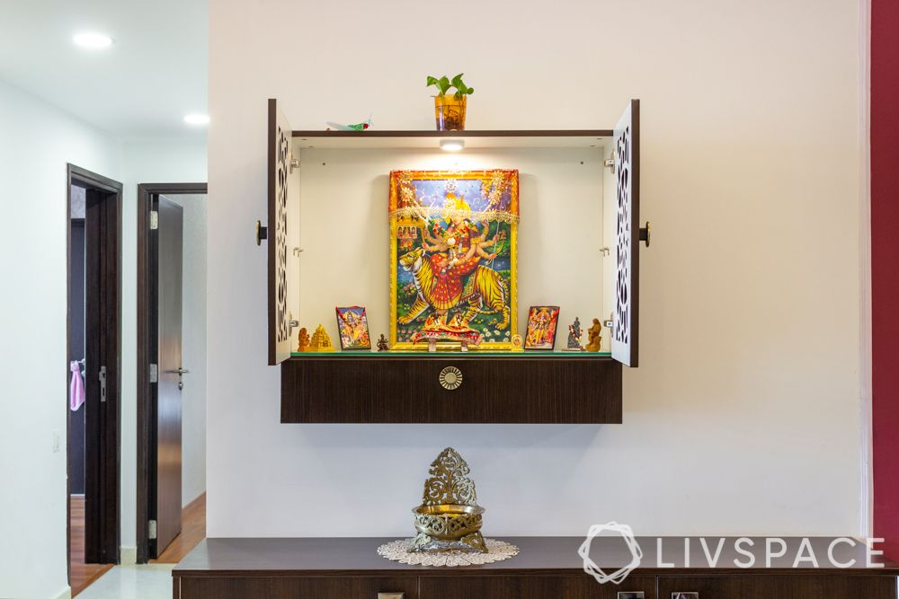 3-bhk-flat-interior-design-wall-mounted-pooja-unit
