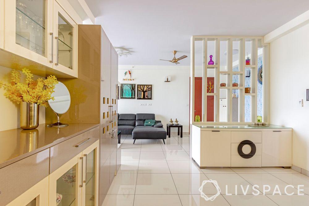 interior design company in bangalore-white partition design-crockery unit design