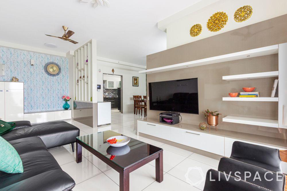 interior design company in bangalore-white partition design-tv unit design