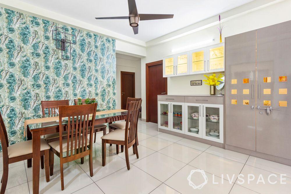 interior design company in bangalore-crockery unit design-blue wallpaper