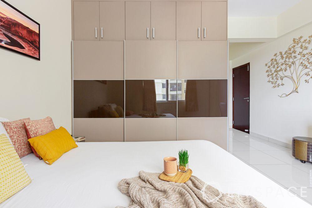 interior design company in bangalore-membrane finish wardrobe-sliding wardrobe