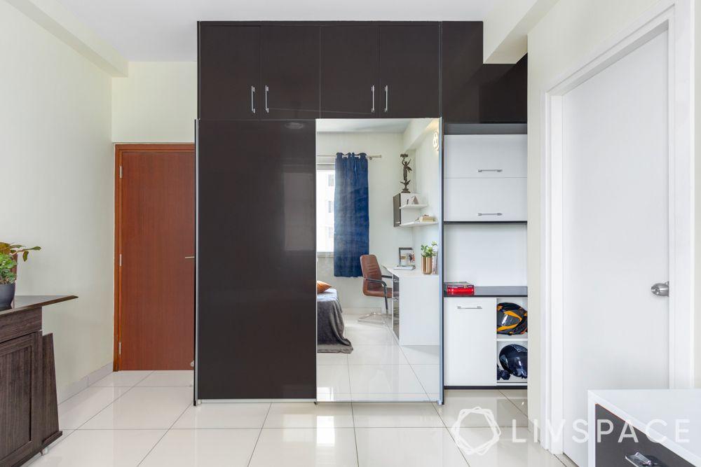 interior design company in bangalore-sliding wardrobe-high gloss membrane wardrobe