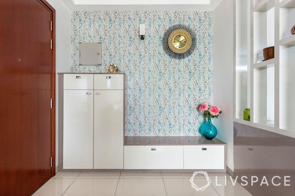 entryway designs-blue wallpaper