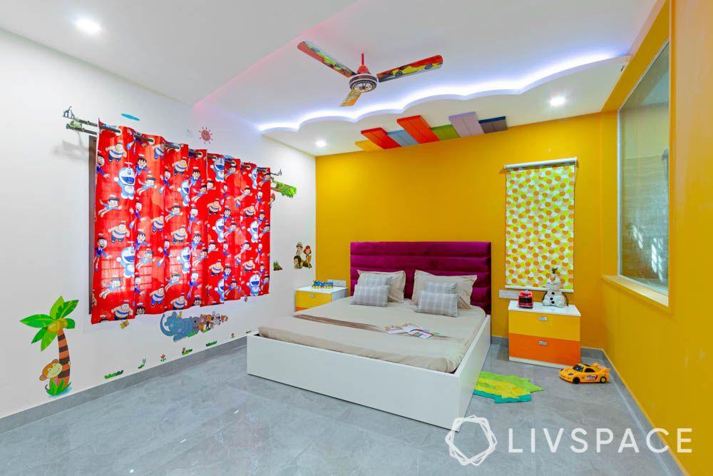 top 10 interior designers in bangalore-kids bedroom-false ceiling-bed-headboard