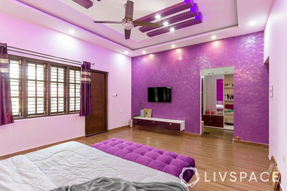 master bedroom-purple texture paint-purple false ceiling