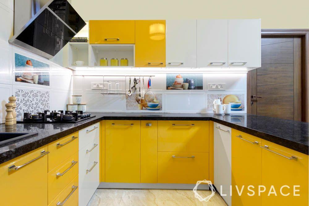 u shaped kitchen-tall unit-duco paint finish-pendant light-granite countertop