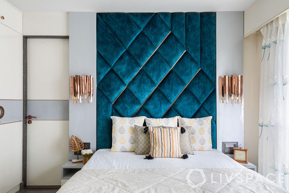 master bedroom design-velvet headboard-blue headboard