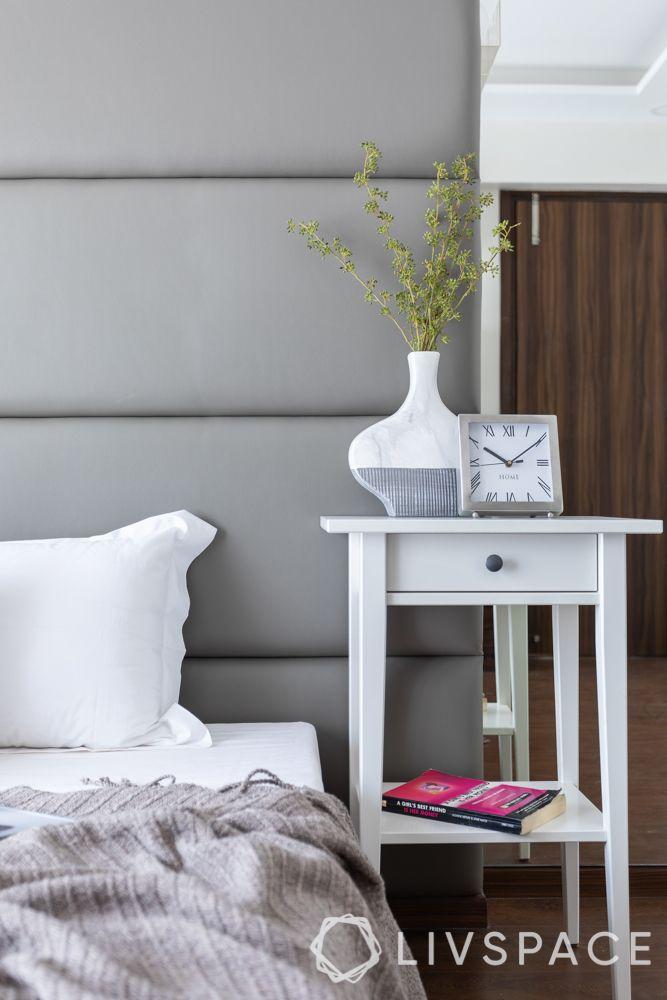 master bedroom design-bedside table-white furniture-decor