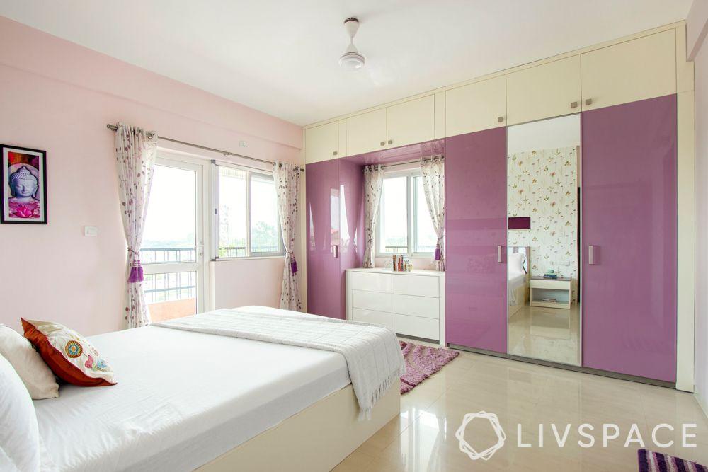master bedroom design-pink wardrobes-white bed