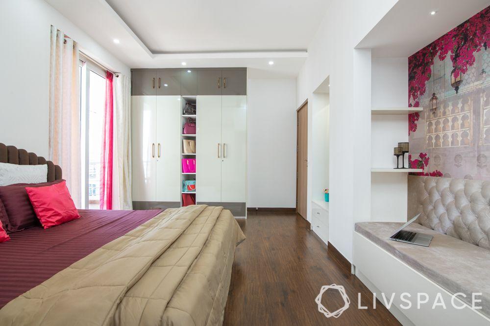 master bedroom design-women wardrobe-open shelf-white wardrobe