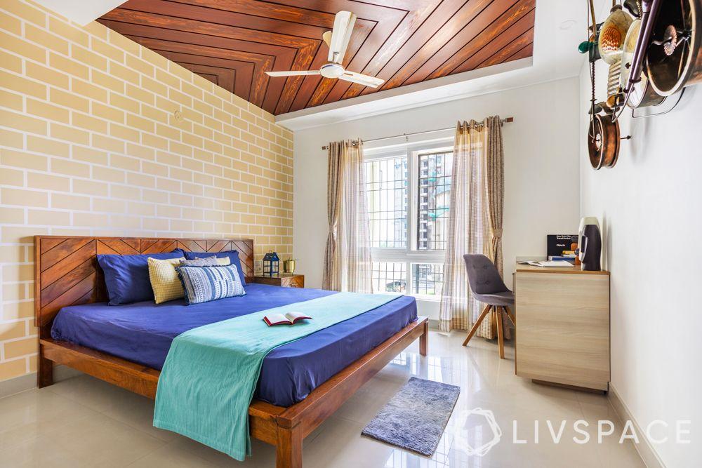 master bedroom design-wooden ceiling-wooden bed-study desk
