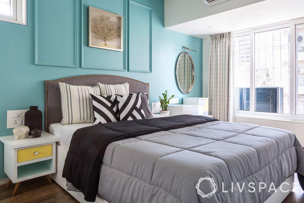 master bedroom design-blue wall-wall trims-mirror-vainty unit