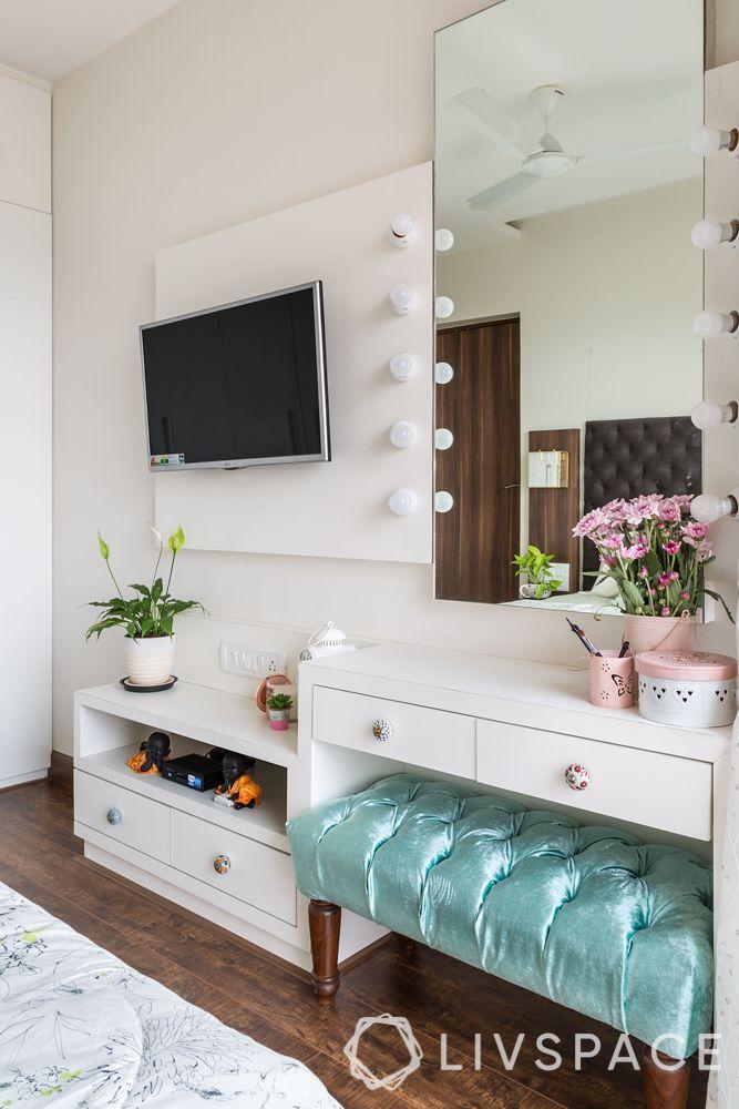 master bedroom design-hollywood lights-bedroom bench-tv unit