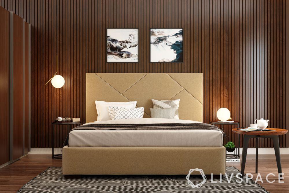 master bedroom design-lamps-lighting-wooden interiors-bed frame