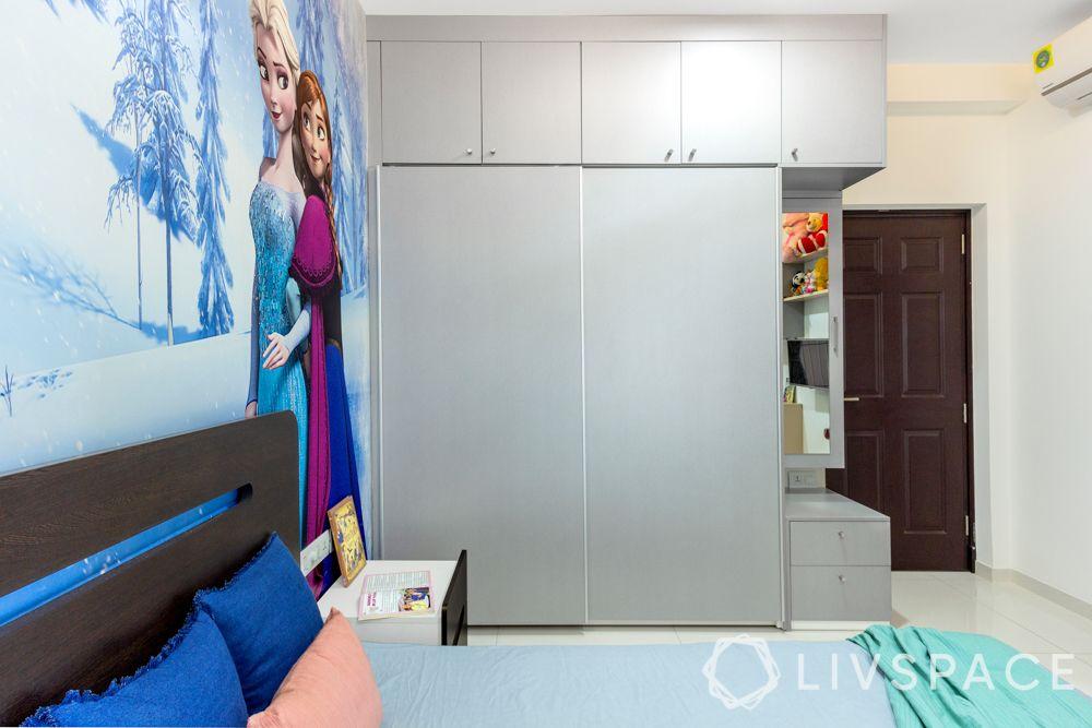 best interiors in bangalore-silver wardrobes laminate-sliding doors-corner shelf=frozen wallpaper