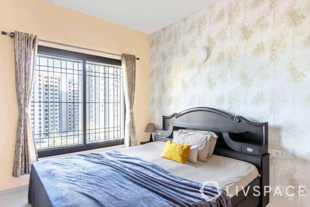 best interiors in bangalore-tile flooring-wooden laminate wardrobe-study unit-wallpaper