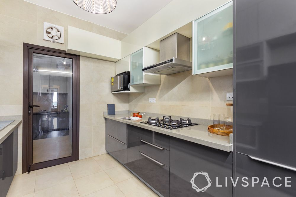 best interiors in bangalore-high gloss laminates-grey and white cabinets-tall unit