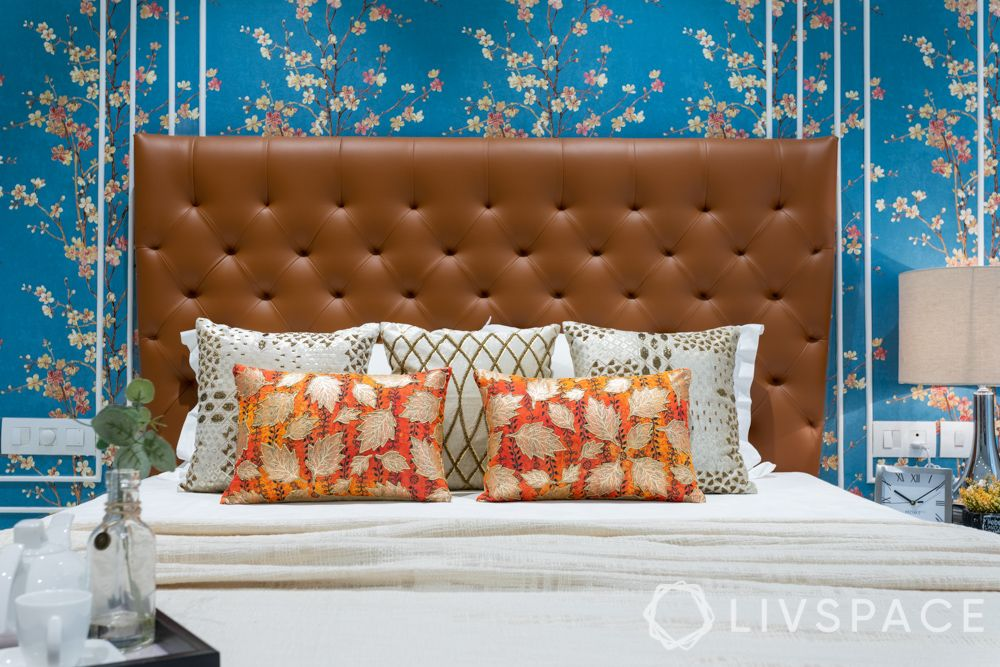 blue wallpaper designs-brown headboard designs
