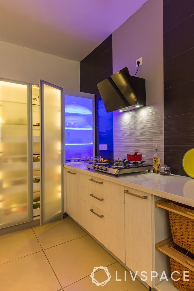 tall pantry unit-glass shutters for kitchen cabinet