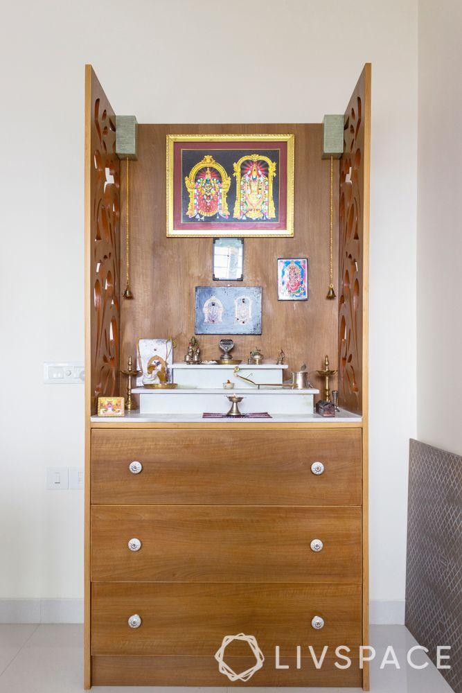 Pooja room designs in plywood-storage-jaali doors