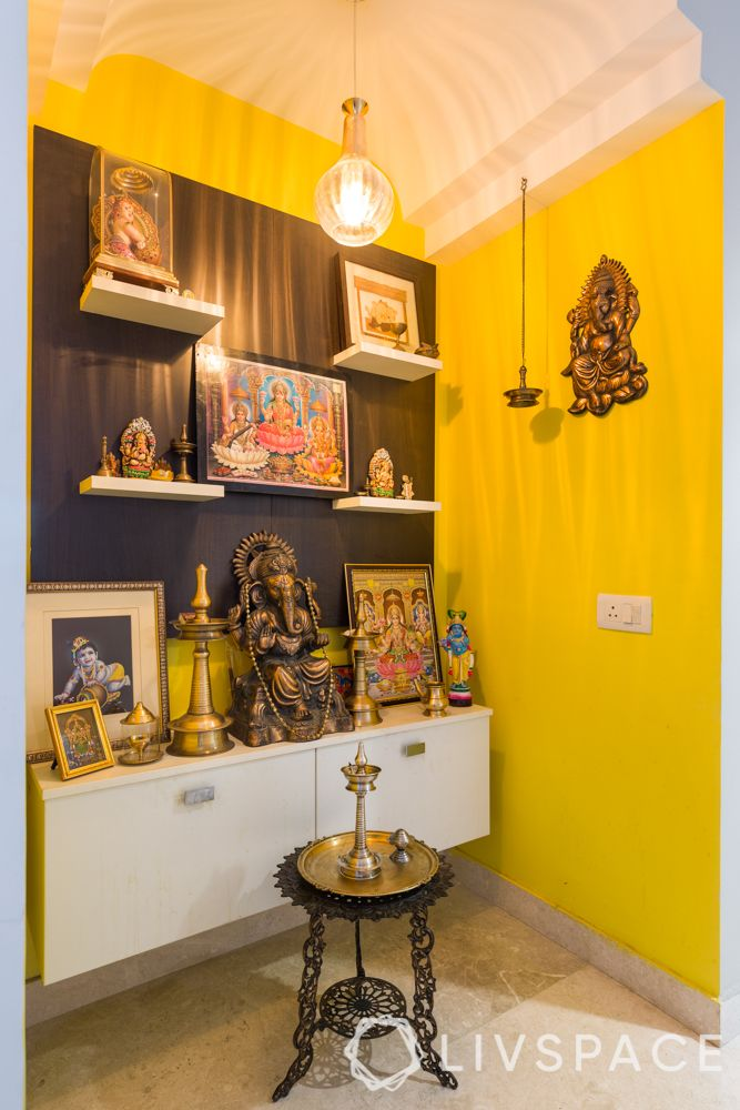 pooja room-yellow accent wall