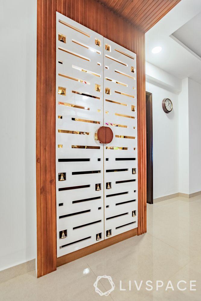 Pooja room-cnc cut doors-bells