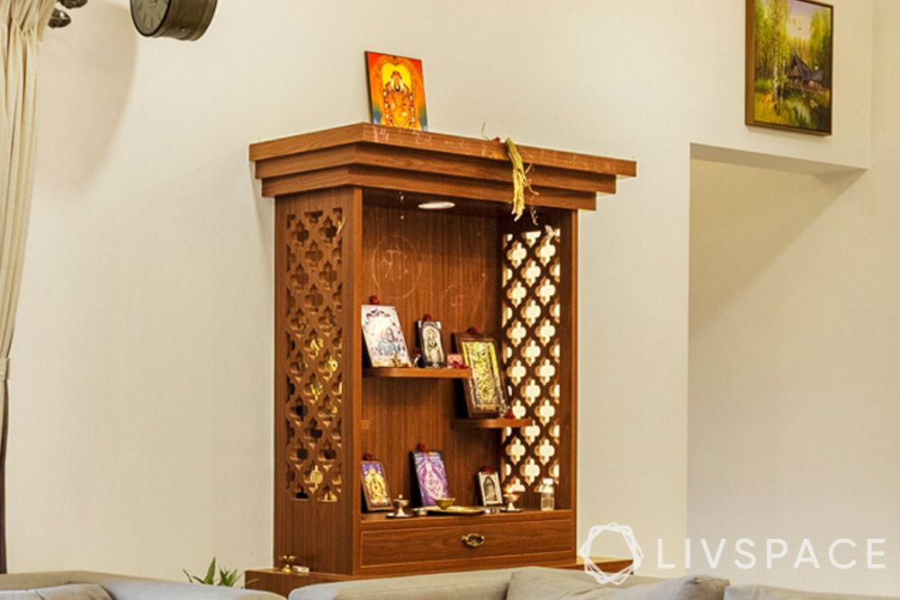 Pooja room designs in plywood-wall mounted