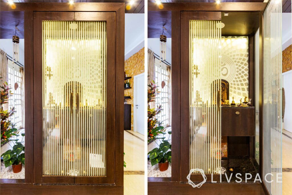 Pooja room designs in plywood-frosted glass