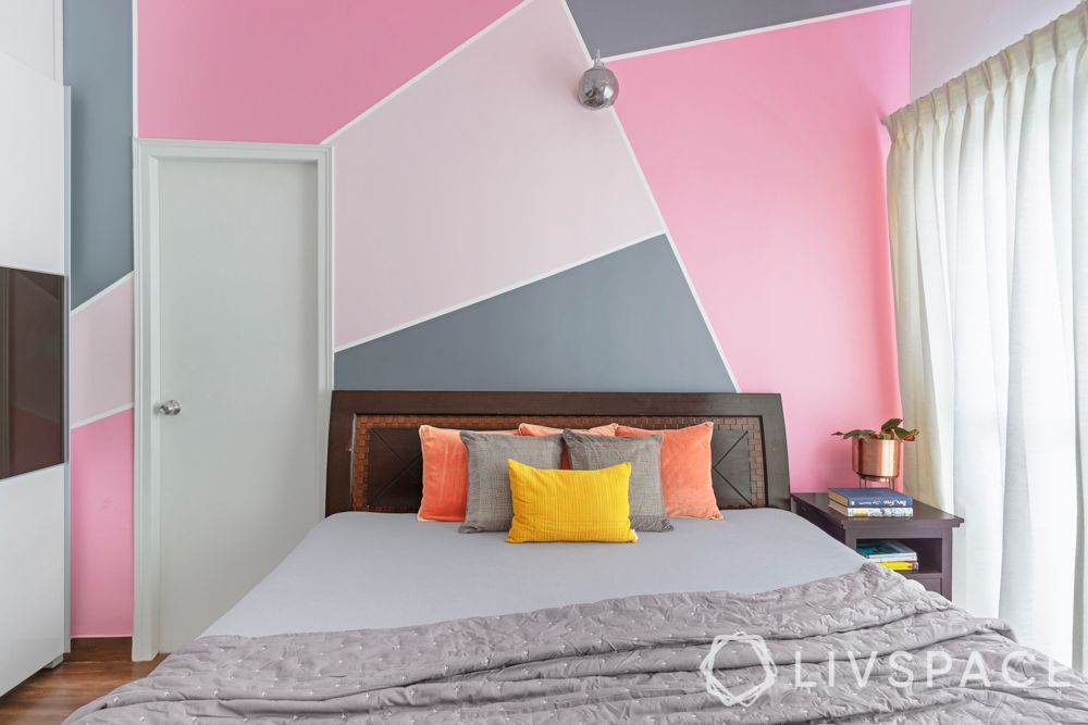 3 bhk flat design-pink wall ideas-wooden bed