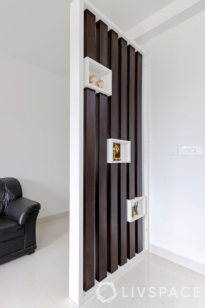 wooden partition ideas-partition with display shelves