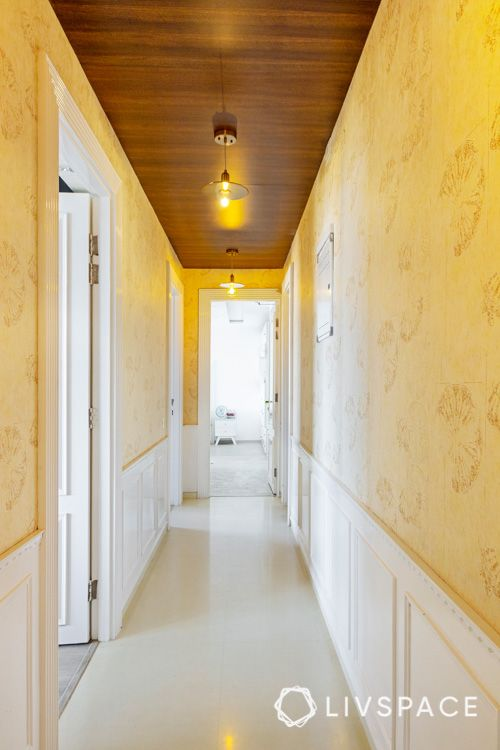 wooden design-wood panelling-passageway-pendant light
