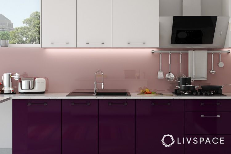 how to clean house-laminate-purple kitchen-one wall kitchen