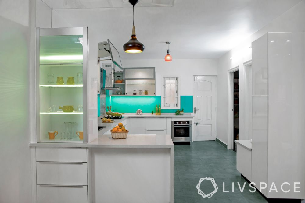 modern kitchen cabinets-aquamarine backsplash-white cabinets-servo-drive-white kitchen cabinets