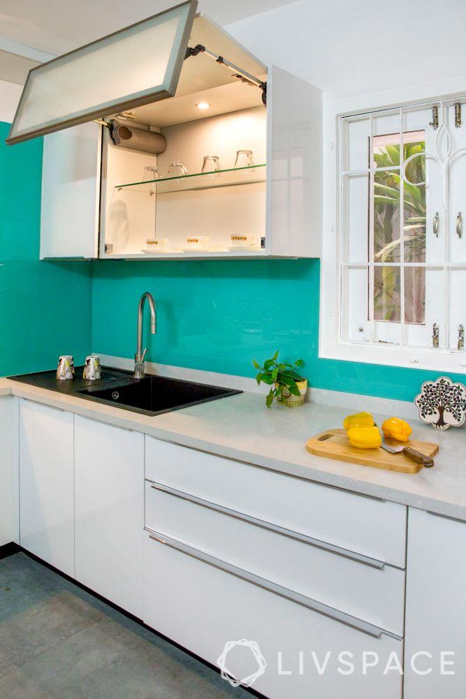 modern kitchen cabinets-aquamarine backsplash-white cabinets-servo-drive-white kitchen cabinets