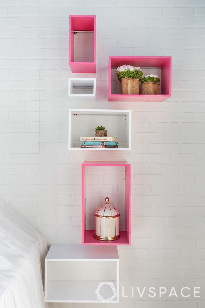 wall shelves-floating shelves-white and pink cube shelves