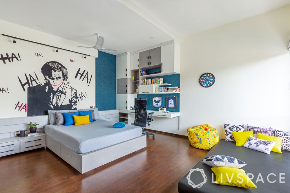 villa house design-joker wallpaper-blue wallpaper-grey bedroom-floor bed-study unit