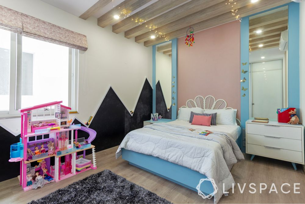 villa house design-vanity mirrors-wooden rafters-chalkboard wall-bed frame